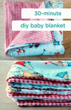 This DIY baby blanket could be a fantastic baby shower gift or sweet surprise for your little one. By simply using soft, colored, and patterned fabrics that you feel fit your child's unique (Diy Baby Blanket) Baby Blanket Tutorial, Easy Baby Blanket, Diy Baby Blankets, Homemade Baby Blankets, Receiving Blankets, Flannel Baby Blankets, Baby Flannel, Quilted Baby Blanket, Homemade Baby Gifts