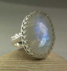 Sterling Silver Moonstone Ring Blue Stone by TazziesCustomJewelry
