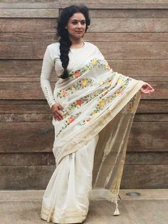 Ivory chanderi saree with parsi embroidery
