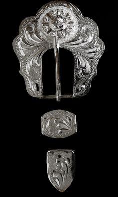 "No. T422 Hand Engraved Flower Buckle Loop & Tip Set 3/4"" Wide"