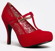 Amazon.com: Qupid TRENCH-191X Crochet Lace T-Strap Mary Jane High Heel Pump: Shoes