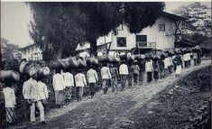 Theepluksters in de omgeving van het gebergte Malabar met de oogst op weg naar de fabriek. 1935