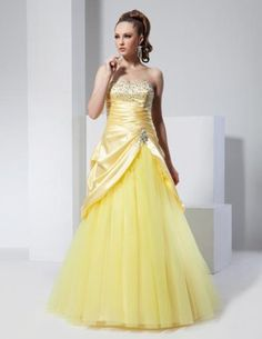 Satin and tulle prom dress by Venus.