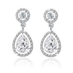 Femmes Blanc Zircone Cubique Brillant Spike CZ Dangle Drop Fashion Boucles d/'oreilles Bijoux