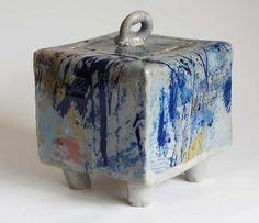 Stoneware Box with Legs by marilynwoods2 on Etsy