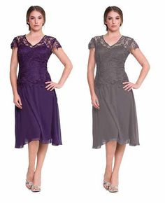 Wholesale Mother Of The Bride Dresses - Buy Lace Mother of the Bride Dresses Purple/Gray Chiffon Sexy Sheer Short Sleeves V-neck Tea Length Women Formal Evening Gowns 2015 Plus Size, $116.1 | DHgate
