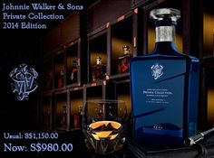 Friday 31/10/2014: Johnnie Walker & Sons Private Collection 2014 Edition Usual: S$1,150.00 Now: S$980.00  The John Walker & Sons Private Collection is to be a limited annual release for the renowned brand.  A continuation of the fabled Johnnie Walker Directors' Blends, the Private Collection is a limited yearly release.