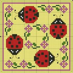 cross stitch chart. Ladybugs and flowers. Floral.