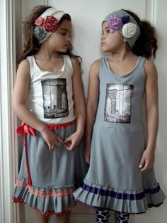 My friend Tone made these amazing reversible clothes for her daughters; I especially love those headbands! Cool Things To Make, How To Make, Daughters, Headbands, Summer Dresses, Amazing, Outfits, Inspiration, Clothes