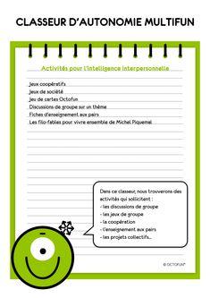 Classeurs d'autonomie | French Classroom, Reading Games, Cycle 3, Classroom Management, Special Education, Back To School, Preschool, Positivity, Teacher