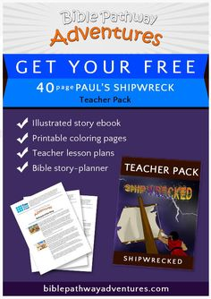 Free Bible Lesson Plans, Cartoons, and Puzzles for parents and teachers. Read our story, 'Shipwrecked' and teach your children about Paul's shipwreck. Bible Resources, Bible Activities, Sabbath School Lesson, Paul The Apostle, Bible Stories For Kids, Teacher Lesson Plans, Free Bible, Shipwreck, School Lessons