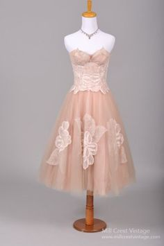 1950s Pink Garden Vintage Wedding Dress