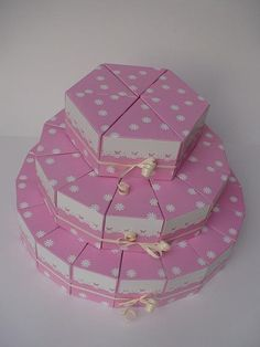 Paper cake ''Pink lady'' favor boxes by ragalus on Etsy, $26.00