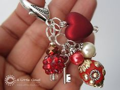 Purse Clip, Jewelry, Keychain Clip with Key Charm, Red, Key to My Heart - www.alittlecloud.com