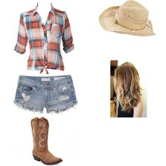 Country outfit!, created by abby-heck on Polyvore #country #outfit #cute #plaid #jean #shorts #blue #fashion #style #stylish #country #concert