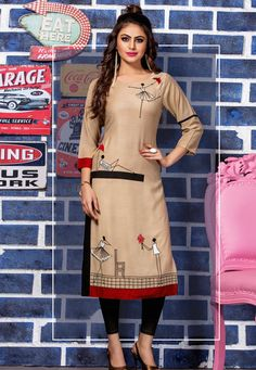 Buy kurti online from an endless collection of latest kurti. Shop sonorous thread work work party wear kurti for party. Simple Kurta Designs, Kurta Designs Women, Kurti Neck Designs, Dress Neck Designs, Kurti Designs Party Wear, Blouse Designs, Party Wear For Women, Kurti Embroidery Design, Kurti Patterns
