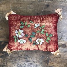 Dec 1, 2020 - This small decorative pillow appears to be handmade. The front has flowers painted on it. Although, the paint is starting to chip, it would look great on the back of a couch as decor. The corners have bows attached to them. There is some wear from age but it still has great color. Some of … Vintage Decorative Handmade … Handmade Pillows, Decorative Pillows, Come Undone, Flea Market Finds, Antiques For Sale, Repurposed, Primitive, Vintage Items, Old Things