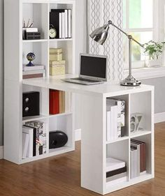 Agencement Cuisine : Calling all storage lovers! This Home Office Laptop Computer Desk Writing Table with Storage in White Wood Finish should tickle your fancy with the 12 storage c Home Office Design, Home Office Decor, Home Decor, Office Style, Home Office Table, Small Apartments, Small Spaces, Work Spaces, Computer Desk Design
