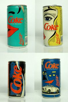 vintage coke cans. it would be so neat if they went back to this look for a limited time.
