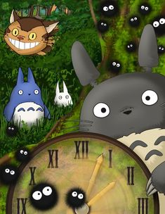 Totoro, his little buddies, the Soot Sprites, and the Cat Bus!!!