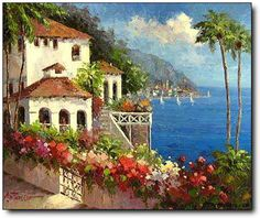 360 Mediterranean Vila on the Italian Coast Original Landscape Oil Painting Art.jpg (360×303)
