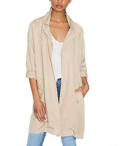 Lapel Collar Khaki Wind Coat