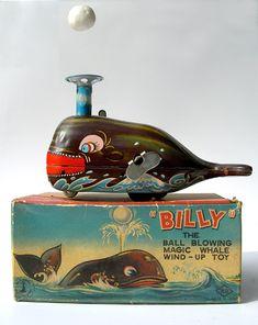 BILLY The Ball Blowing Magic Whale Wind-Up Tin Toy KO Made in Japan Yoshiya Kobe Yoko Ltd. Japan