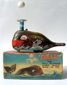 BILLY The Ball Blowing Magic Whale Wind-Up Tin Toy KO Made in Japan Yoshiya Kobe Yoko Ltd. Japan