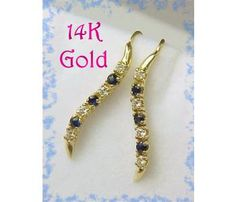 14K Gold Sparkling Diamond & Sapphire Earrings Pennsylvania Estate Treasure Vintage Jewelry $199 www.FindMeTreasure.com  CLICK TWICE ON PHOTO TO BUY