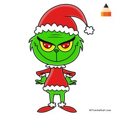 Learn How To Draw Chibi Grinch with this step-by-step tutorial and video. Cartoon Drawings, Cartoon Art, Easy Drawings, Simple Christmas Cards, Christmas Art, Grinch Drawing, Chibi, Drawing Tutorials For Kids, Christmas Paintings
