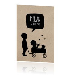 Mooi eigentijds geboortekaartje baby in bolderkar met broertje Company Logo, Logos, Logo