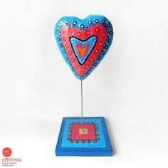 Papier mache blue fuschia heart,recycled art,eco friendly, paper pulp,valentines day,sculpture,art object,home decor,room decor,special gift