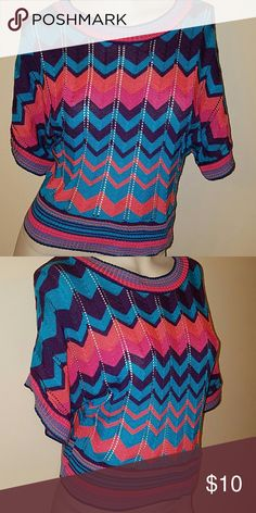 Delia*s Chevron print short sleeve sweater Chevron print short sleeve sweater Delia*s Sweaters