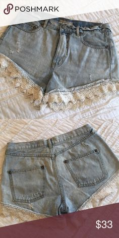 Free people lace jean shorts In great condition! Adorable lace detail. Free People Shorts Jean Shorts