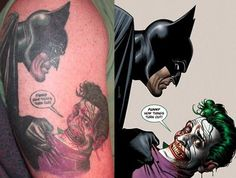 Batman And Joker Cartoon Tattoos Cartoon Character Tattoos, Cartoon Tattoos, Cartoon Characters, Batman Joker Tattoo, Batman Art, Joker Cartoon, Girl Cartoon, Super Hero Tattoos, Ipod