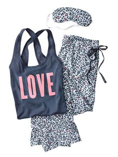 The Pillowtalk Tank Pajama - Victoria's Secret Color: Grey/Multi Cheeth Size: Med