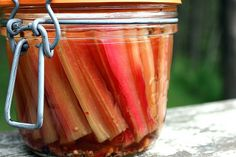 Pickled Chard Stems - decrease salt and maybe add a little red pepper flakes next time. Chard Recipes, Spinach Recipes, Canning Pickles, Rainbow Chard, Delicious Vegan Recipes, Healthy Recipes, Canning Recipes, Vegetable Dishes, Chutney