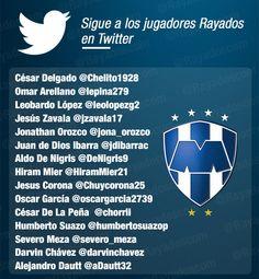 Sigue a los jugadores #Rayados en sus cuentas oficiales de #Twitter