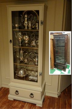 Old gun cabinet converted into a display case. A neighbor of mine set an old gun cabinet at the curb that I brought home and converted into something similar to this, only mine is painted black. Furniture Projects, Furniture Making, Furniture Makeover, Home Furniture, Furniture Plans, Wood Projects, Repurposed Furniture, Painted Furniture, Repurposed Items