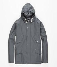 Midlength four pocket Elka jacket made in collaboration with traditional Danish rainwear manufacturer Elka Regntøj.