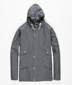Midlength four pocket Elka jacket made in collaboration with traditional Danish rainwear manufacturer Elka Regntøj.