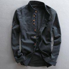 Man Summer Linen Long Sleeve Shirt Chinese Style Vintage Fashion Male Shirts For Man Autumn Spring Summer -. Casual Shirts For Men, Men Casual, Stylish Men, Casual Tops, Mandarin Collar Shirt, Linen Tshirts, Cotton Shirts, Street Fashion, Mens Fashion