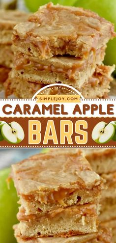 The perfect Thanksgiving dessert! Anyone will flip over these sugar cookie bars with a caramel apple combo. Add this easy apple recipe to your fall baking list and enjoy a sweet treat with your family! Homemade Caramel Recipes, Apple Recipes Easy, Thanksgiving Desserts Easy, Fun Desserts, Fall Recipes, Pumpkin Sugar Cookies, Sugar Cookie Bars, Caramel Apple Bars, Caramel Apples