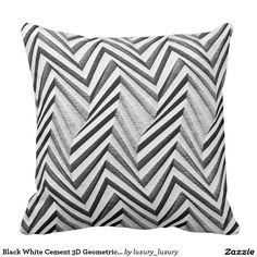 Black White Cement 3D Geometric Minimalism Cushions