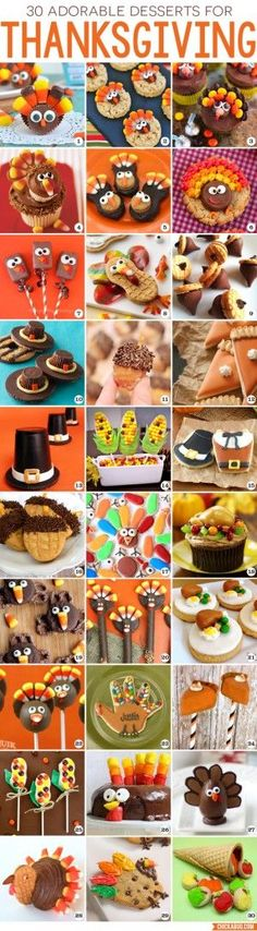 Looking for cute, fun, and easy Thanksgiving desserts? Here are 30 fabulous Thanksgiving dessert recipes! From turkeys to corn, from pilgrim hats to pumpkin pie, there's sure to be something here that fits the bill! (easy pie for thanksgiving) Thanksgiving Desserts Easy, Thanksgiving Parties, Thanksgiving Decorations, Happy Thanksgiving, Thanksgiving Baking, Thanksgiving Prayer, Thanksgiving Outfit, Holiday Snacks, Holiday Fun