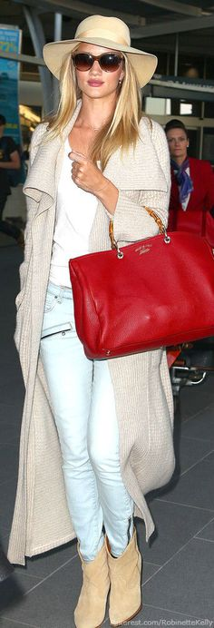 Rosie Huntington-Whiteley in all light - and a super statement red bag