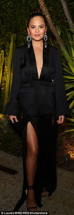 Black and white:Chrissy Teigen and Hailey Baldwin pulled out all the stops for the H&M Conscious Exclusive Collection Dinner in Los Angeles on Tuesday