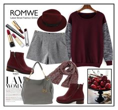 """Sleeve Loose Red Sweatshirt-Romwe"" by biange ❤ liked on Polyvore featuring Sans Souci"