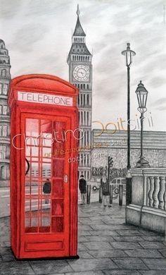 30x50cm  ΛΟΝΔΙΝΟ | LONDON Πίνακας με μικτή τεχνική: ξυλομπογιές, παστέλ, μολύβι, κάρβουνο και κιμωλία | Mixed media drawing: coloured pencils, pastels, pencil, charcoal and chalk | Painting: Christina Doitsini