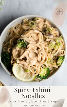 If you're looking for your new favorite rice noodles recipe that is both vegan and vegetarian, look not further! Sautéed onions, mushrooms, and broccoli get served with gluten free rice noodles, all coated in an easy + super creamy Spicy Tahini sauce. Rice Noodle Recipes, Rice Recipes For Dinner, Clean Eating Recipes, Healthy Eating, Asian Recipes, Healthy Recipes, Savoury Recipes, Healthy Meals, Taiwanese Cuisine
